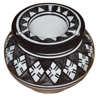 Handmade Black and White Ceramic Ashtray (Morocco)