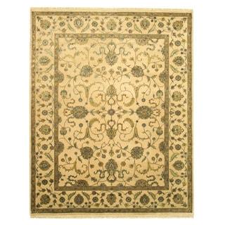 EORC 9020 Beige Hand-knotted Silk Flower Jaipur Rug (8' x 10'1)