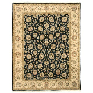 EORC 9037 Black Hand-knotted Wool Romance Rug (7'9 x 10'1)
