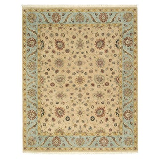 EORC 9038 Beige Hand-knotted Wool Romance Rug (7'10 x 9'9)