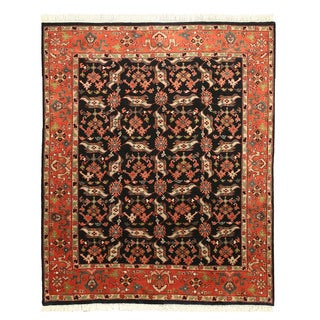 EORC Hand Knotted Wool Black Allover Heriz Rug (8' x 9'9)
