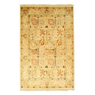 EORC 13143 Ivory Hand-knotted Wool Pashawar Rug (6' x 9'2)