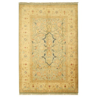 EORC 13148 Blue Hand-knotted Wool Pashawar Rug (6'1 x 9'2)