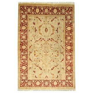 EORC 13151 Blue Hand-knotted Wool Pashawar Rug (6' x 9')