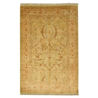 EORC 13152 Gold Hand-knotted Wool Pashawar Rug (6'1 x 8'10)
