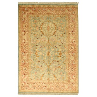 EORC 13161 Blue Hand-knotted Wool Pashawar Rug (6'1 x 9')