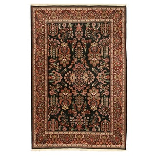 EORC Hand Knotted Wool Black Sarouk Rug (5'11 x 8'10)
