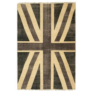 EORC OT75BK Black Hand-knotted Wool Union Jack British Flag Rug (8' x 10')