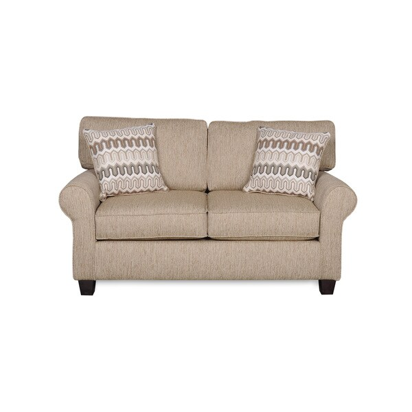 Sofab Erin Cafe Almond Love Seat with Accent Pillows