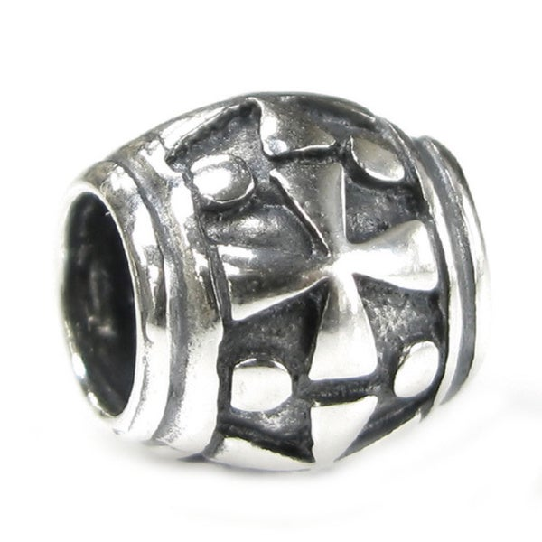 Queenberry Sterling Silver Cross European Bead Charm