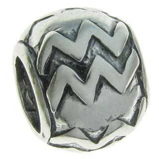 Queenberry Sterling Silver Round Aquarius Zodiac European Bead Charm
