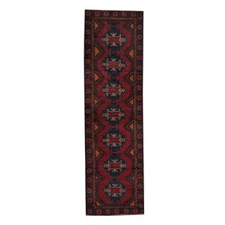 Herat Oriental Afghan Hand-knotted Tribal Balouchi Red/ Gold Wool Rug (2'10 x 9'10)