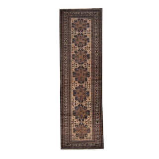 Herat Oriental Afghan Hand-knotted Tribal Balouchi Beige/ Brown Wool Rug (2'10 x 9'9)