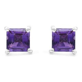 Malaika Sterling Silver Amethyst Square Stud Earrings