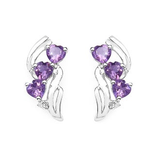 Malaika 1.53 Carat Amethyst and White Topaz Earrings in .925 Sterling Silver