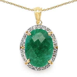 Malaika Two Tone Plated 14.38 Carat Genuine Dyed Emerald & White Topaz .925 Sterling Silver Pendant