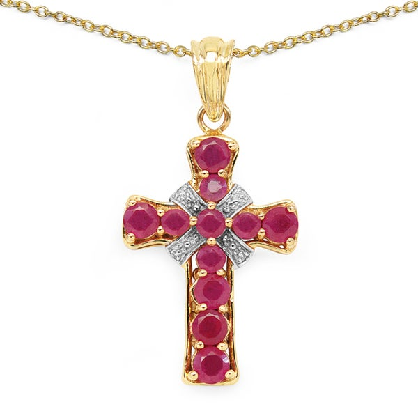 Malaika Goldtone Fissure-filled Ruby Cross Necklace