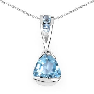 Malaika Sterling Silver Trillion Blue Topaz Necklace