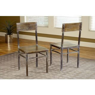 Rustic Metal Leg Dining Chair (Set of 2)