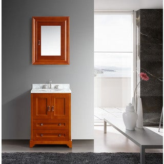 Eviva Milano.T 24-inch Brown with White Italian Marble Top Vanity