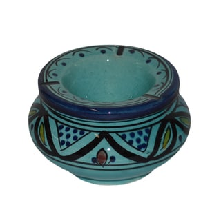 Handmade Aqua Ceramic Ashtray (Morocco)