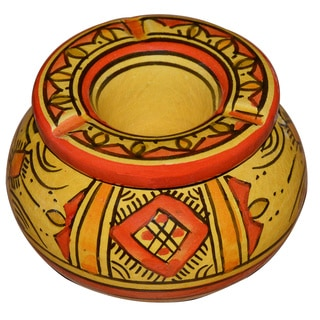 Handmade Berber Yellow Ceramic Ashtray (Morocco)