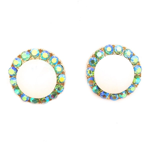 Opal-tone Round Statement Stud Earrings