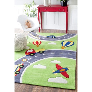 nuLOOM Handmade Modern City Cars Kids NurseryGreen Rug (5' x 7'6) - 5' x 7' 6""