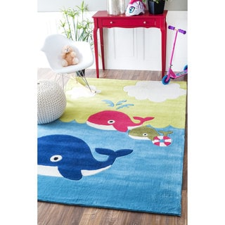 nuLOOM Handmade Dolphins Modern Blue Kids Rug (5' x 7'6)