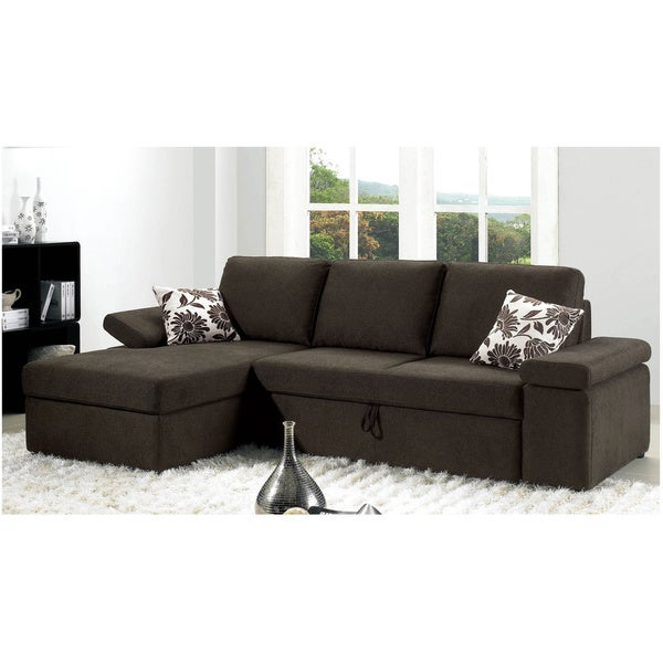 Luca Home Charcoal Textured Fabric Sectional
