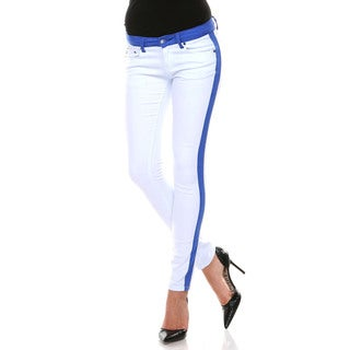 Stanzino Women's White/ Blue Colorblock Slim Fit Pants