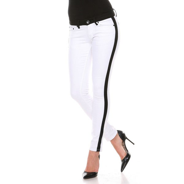 Stanzino Women's White/ Black Colorblock Slim Fit Pants