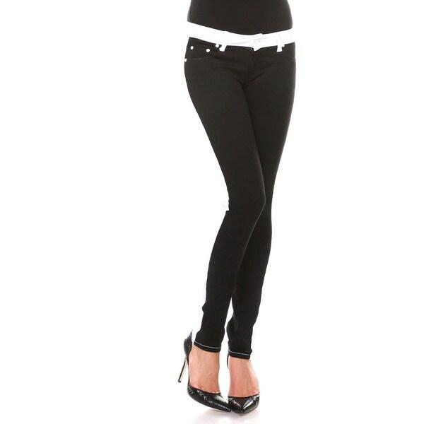 Stanzino Women's Black Front Colorblock Slim Fit Pants