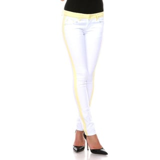 Stanzino Women's White/ Yellow Colorblock Slim Fit Pants