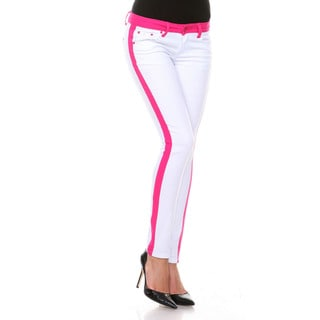 Stanzino Women's White/ Pink Colorblock Slim Fit Pants