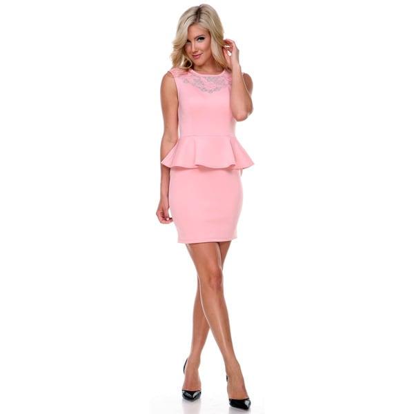 Stanzino Women's Sleeveless Bodycon Peplum Party Dress