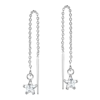 Cubic Zirconia Star Thread Slide Sterling Silver Earrings (Thailand)