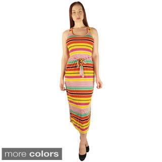 Women's Multi Stripe Racerback Maxi Dress Dress