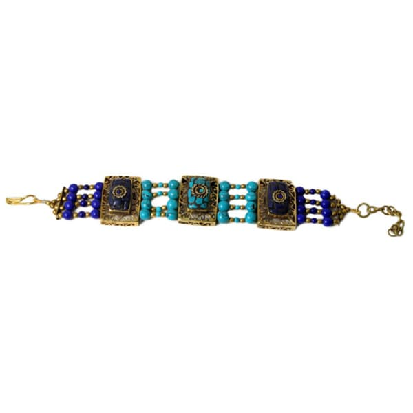 Handcrafted Blue Resin Adjustable Bracelet (India)