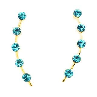 Jack E Ohs NYC Gold Tone Aqua Marine Stud Earrings