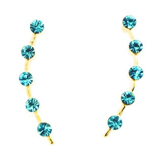 Jack E Ohs NYC Gold Tone Aquamarine Rhinestone Stud Earrings