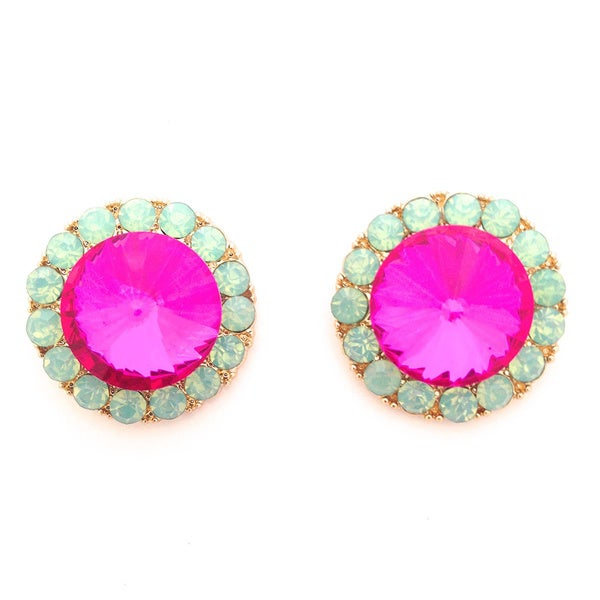 Opal Green and Pink Stud Earrings
