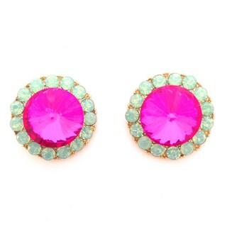 Opal Green and Pink Stud Earrings