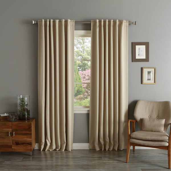 "Aurora Home Solid Insulated Thermal Blackout Curtain Panel Pair 102"" in Beige (As Is Item)"