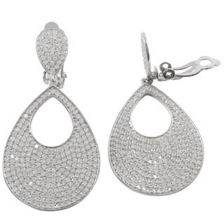 Sterling Silver Micropave Cubic Zirconia Teardrop Clip-on Earrings