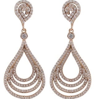 Sterling Silver Cubic Zirconia Concentric Teardrop Dangle Earrings