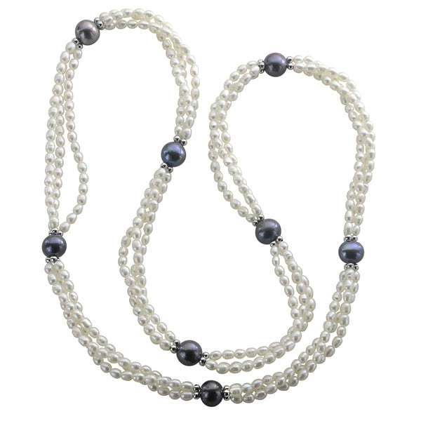 Pearls For You Sterling Silver White and Peacock Freshwater Pearl Twist Necklace (3.5-4, 10-10.5 mm) 15426797