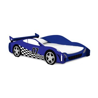 Legare Kids Furniture Race Car Blue and White Twin Bed