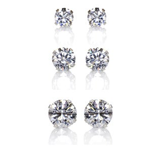 Sterling Silver Clear Cubic Zirconia 3-Pair Earring Stud Set (4, 6, 8mm)