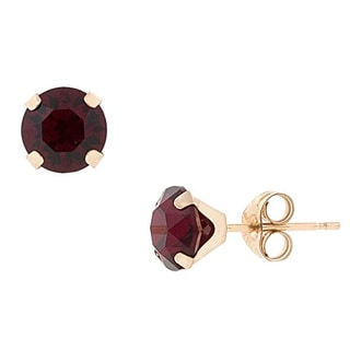 Pori 14k Gold Round-cut Crystal Elements Birthstone Stud Earrings